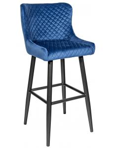 Стул барный Ститч, вельвет королевский синий+Стул барный Ститч, ножки металл , черный матовый