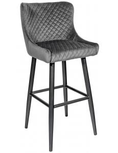 Стул барный Ститч, вельвет серый+Стул барный Ститч, ножки металл , черный матовый