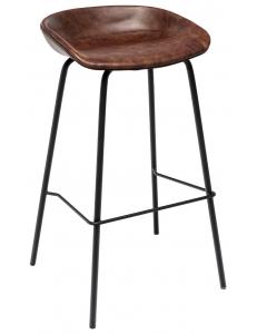 Стул барный Турин, коричневая экокожа, черные ножки