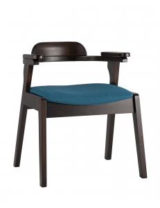 Стул обеденный VINCENT, массив гевеи (эспрессо), мягкое сидение, синее