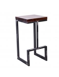 Стул полубарный лофт Альтрон с деревянным сиденьем