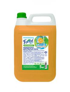 """FOREST clean   Концентрат для мытья пола """"Сочный апельсин"""" Рн 11,5 щелочной 5 кг Канистра"""
