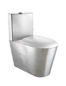 Туалет из нержавеющей стали с прямоугольным баком матовый