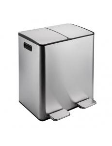 Ведро на 2 БАКА  для раздельного сбора  мусора крышка- металл 40 л,  451х375х510 мм , нержавейка 410  (10240)